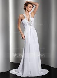 a line princess halter sweep train chiffon wedding dress with