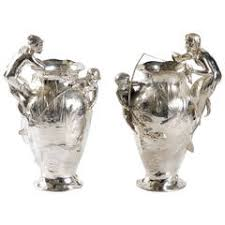 Steel Vases 1903 German Wmf Jugend Art Nouveau Glass And Silverplated Steel