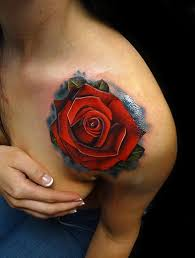 red shoulder rose tattoo by andres acosta best tattoo ideas gallery