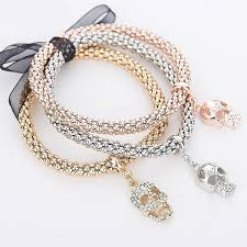 rhinestone bracelet charms images Rose gold silver gold quot 3 in 1 quot rhinestone bracelet pack blown biker jpg