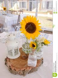 Sunflower Centerpiece Sunflowers Centerpiece White Candle Lantern Decoration Stock