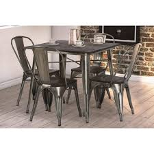 dhp fusion dining table square antique gun metal wood walmart com