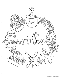 coloring pages free winter coloring page artzycreations winter