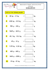 grade 3 maths worksheets 12 4 measurement of weight subtraction