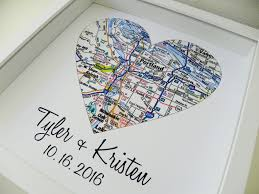 1st year anniversary gift ideas for anniversary gift paper gift map heart framed any