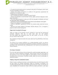 Asset Management Resume Sample by Paraguay Asset Management