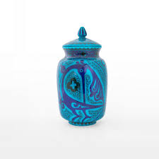 jar with geometrical pattern and bird figures products jar