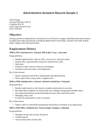 Resumes Objectives Examples by Objective For Administrative Assistant Resume Best Business Template