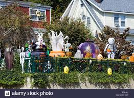 a house decorated for halloween in america stock photo royalty