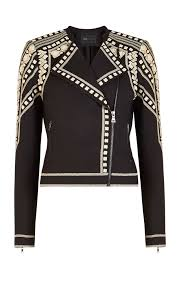 jacket moto geometric embroidered moto jacket