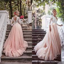 wedding dresses with sleeves discount 2017 newest blush pink country wedding dresses with