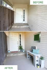 a front porch makeover featuring a cinder block bench art