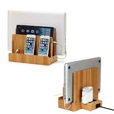 Phone Charging Stand by Bamboo Smart Multi Device Charging Station With Usb Ac Power Hub
