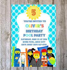 diy printable lego summer pool party beach birthday invitation on