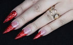 red glitter nails acrylic stiletto youtube