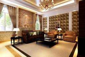 Luxury Family Room Design With Chandelier Lights And Small Table - Family room lamps
