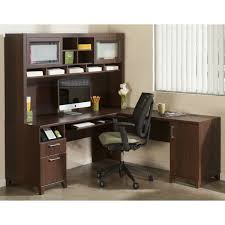 alluring modern l shaped desk with hutch and frosted glass doors s