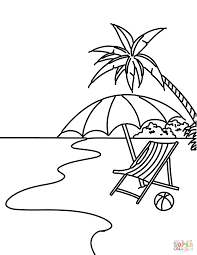 summer beach scene coloring page free printable coloring pages