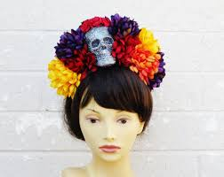 day of the dead headband dia de los muertos headband day of the dead skull flower crown