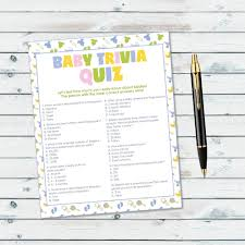 baby shower trivia game baby trivia quiz printable neutral