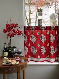 Red Blue Curtains Red Kitchen Curtain Paisley Print Red Café Curtain Red Paisley