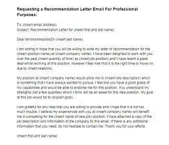 recommendation letter email request for a job sample just letter