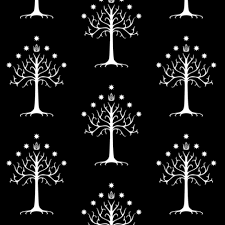 white tree of gondor black fabric thinlinetextiles spoonflower