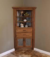 Distressed Corner Cabinet Short Wood And Metal Corner Liquor Cabinet With Two Doors Plus