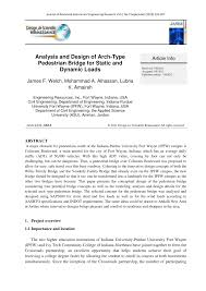 analysis and design of arch type pedestrian bridge for static and