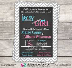 joint boy and baby shower invitation in grey chevron