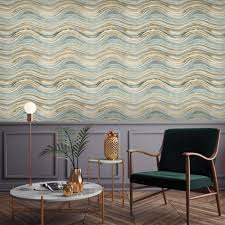 blue and metallic gold wave coastal beach removable wallpaper