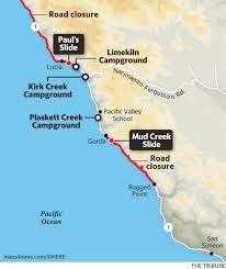 Map Of Cambria Ca Big Sur Highway 1 Closure Creates Remote Escape For Campers The