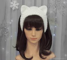 knitted headband headband with cat ears knitted hair white shop online on