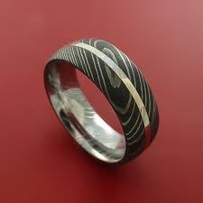 damascus steel wedding band damascus steel ring and palladium inlay wedding band stonebrook