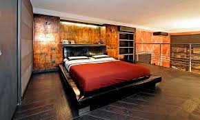 Bed Frame Lowes Industrial Style Bedroom Ideas With Copper Plates Wall Accent And