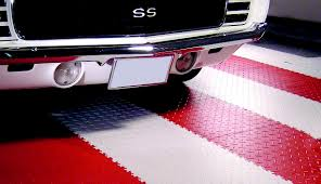 garage floor tiles garage floor mats armorpoxy red and white diamond supratile under white car