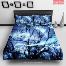 woods silhouette blue nebula galaxy bedding sets home gift home