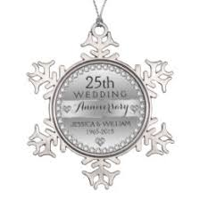 25th wedding anniversary christmas ornament 25th wedding anniversary personalized christmas ornaments zazzle ca