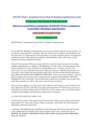 ese 697 week 1 assignment lesson plan reading comprehension for