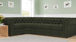 Chesterfield Corner Sofas Furniture Black Fabric Chesterfield Sofa With Thee Side