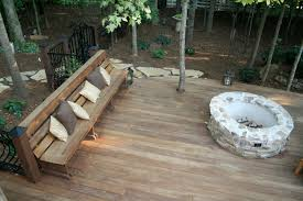 Firepit Bench Decksouth Curved Hardwood Deck With Firepit Fireplace Bench