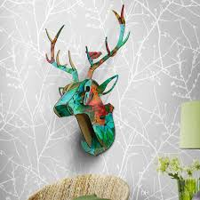 diy animal deer head wooden wall hanging for living room bedrooms