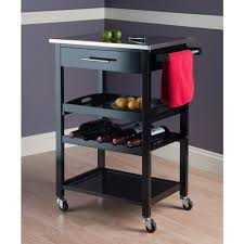 Kitchen Island Cart Stainless Steel Top Amazon Com Winsome Wood Stainless Steel Anthony Kitchen Cart