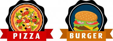 fast food tags pizza burger icons ribbon ornament free vector in