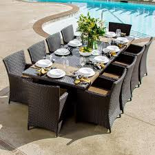 Wicker Patio Dining Table Dining Room Patio 8 Person Outdoor Dining Cast Aluminum Set