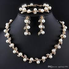 elegant pearl necklace images 2018 fashion women imitation pearl jewelry set leaf design elegant jpg