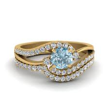 gold bridal set swirl 3 aquamarine diamond bridal set in 14k yellow