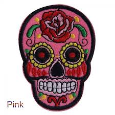 cool flower sugar skulls embroidered iron sew on patch
