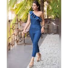 buy jumpsuit buy stalkbuylove blue donya ruffles one shoulder jumpsuit