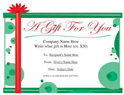 christmas gift certificate template microsoft word template business